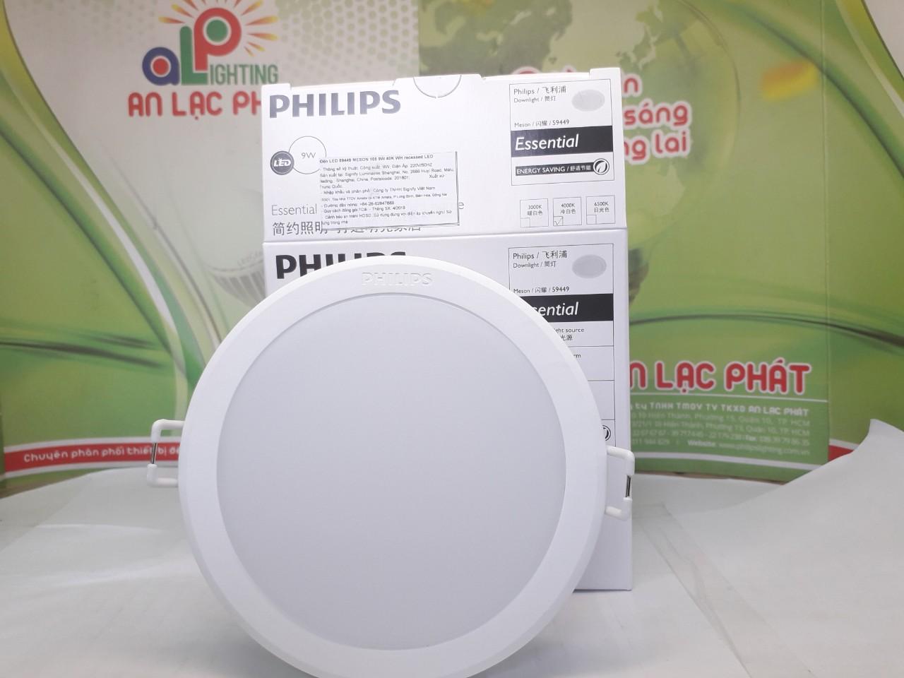 Mặt trước thực tế đèn Led Philips âm trần Menson 59449