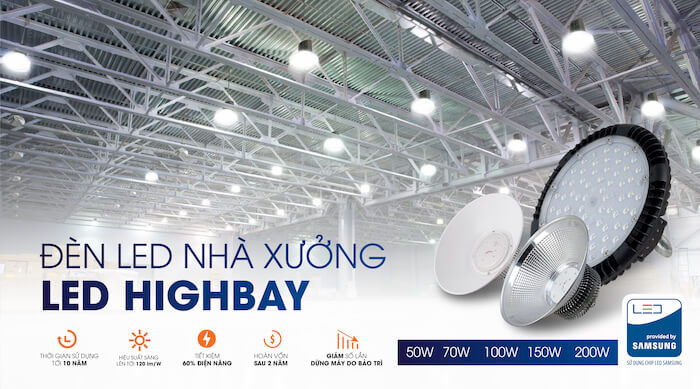 Đèn led nhà xưởng của Rạng Đông có hai loại chính là Lowbay và HighBay